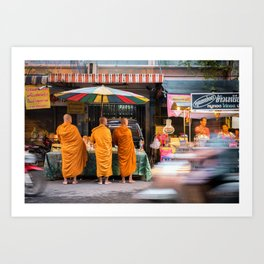 Three Buddhist Monks at the Market Art Print
