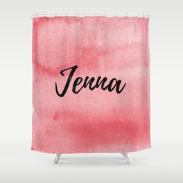 Red Watercolor Jenna Shower Curtain