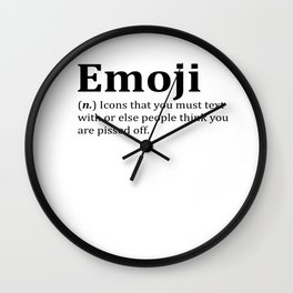 Funny Emoji Dictionary Meme Wall Clock