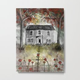 Roses of the Haunted House - Drawing by Myles Katherine Metal Print