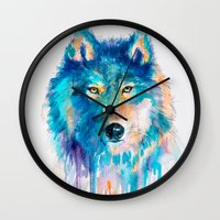 wolf Wall Clocks featuring Wolf by Slaveika Aladjova