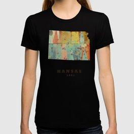 Kansas state map modern T-shirt