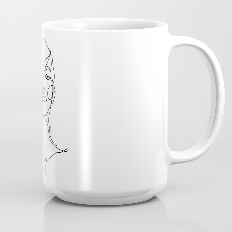 photograph regarding Printable Mugs known as Printable Lady Portrait Line Instance, Lady Sketch Espresso Mug