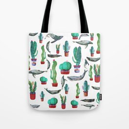 Cactus and Whales Tote Bag
