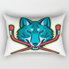 Coyote Ice Hockey Sports Mascot Rectangular Pillow