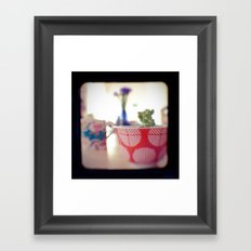 Succulent Tea Cup Framed Art Print