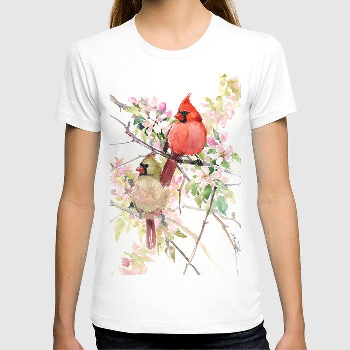 Cardinal Birds and Spring, cardinal bird design T-shirt