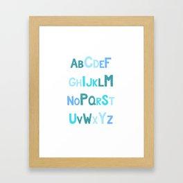 Blue Glitter Alphabet Framed Art Print