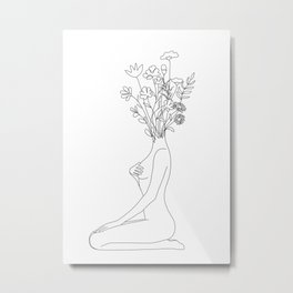 Minimal Line Bloom Metal Print