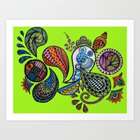 paisley Art Prints featuring Paisley by Sketchii Studio