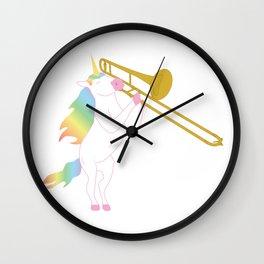 Beautiful Unicorn Playing The Trombone Wall Clock