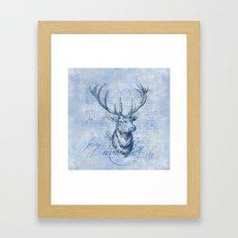 Joy to the world Christmas deer Framed Art Print
