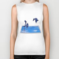 dolphins Biker Tanks featuring Leaping Dolphins by Roger Wedegis