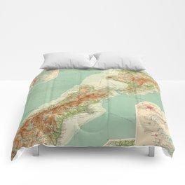 Vintage Map of New Zealand (1922) Comforters