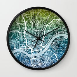 Cincinnati Ohio City Map Wall Clock