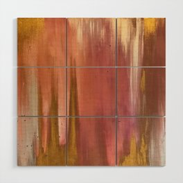 Blush with Gold Abstract Wood Wall Art