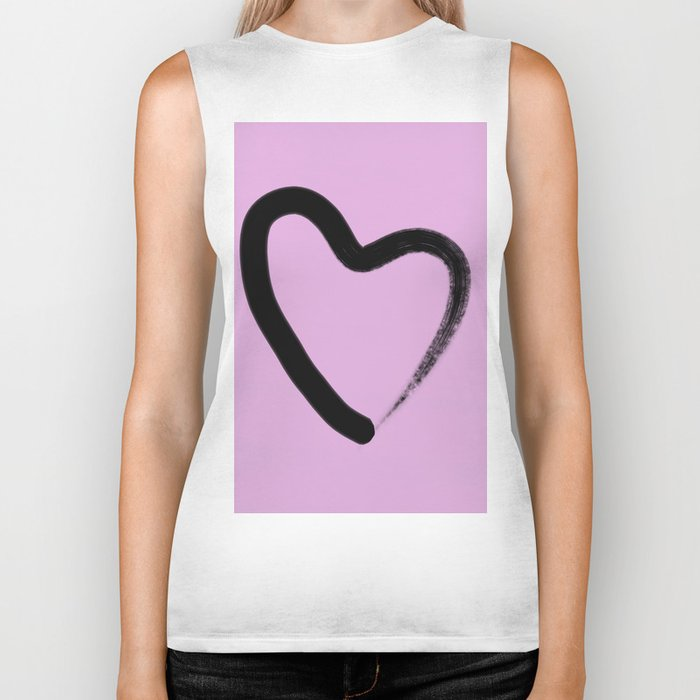 Simple Love - Minimalistic simple black love heart brush stroke on a pink background Biker Tank