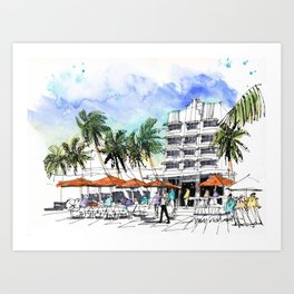 Blustery Morning on Ocean Drive, South Beach Art Print