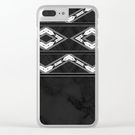 Aztec Black and White Tribal Design Clear iPhone Case