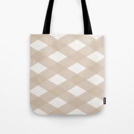 Pantone Hazelnut, Tan Argyle Plaid, Diamond Pattern Tote Bag