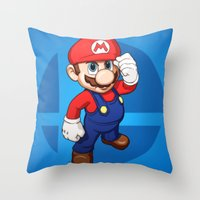 mario bros Throw Pillows featuring Mario by Ryan Ketley