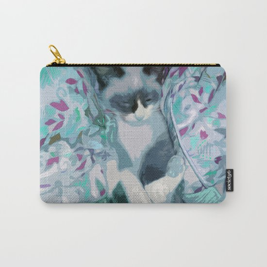 Nestled Kitten in Comforter Cloud Carry-All Pouch