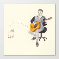 before doomsday,father and cat still sing their song as usual. Canvas Print