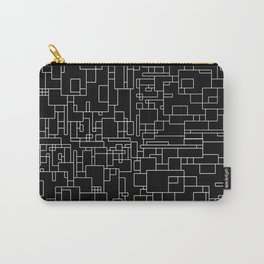 Circuitry - Abstract, geometric, black and white Carry-All Pouch