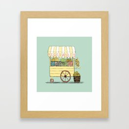 Veggie Cart on Mint Framed Art Print