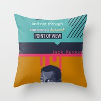 kerouac Throw Pillows featuring ... Best Teacher | Jack Kerouac by PhraseCrowd