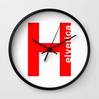 helvetica Wall Clocks featuring red Helvetica by Atlas Designs