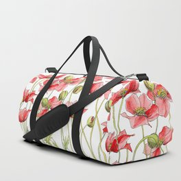 Red Poppies, Illustration Duffle Bag