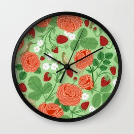 Roses and strawberries on green Wall Clock