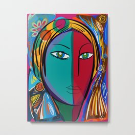 Pop Expressionist Art Portrait Metal Print