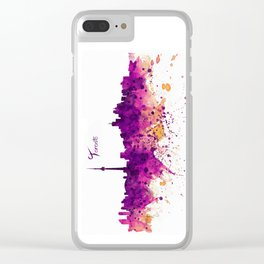 Toronto Watercolor Skyline Clear iPhone Case