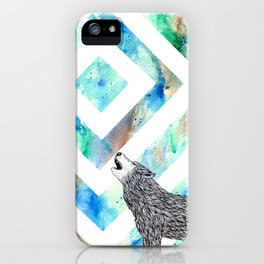 Squared Moon Wolf iPhone Case