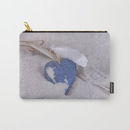 Blue Heart and feather on the Beach Carry-All Pouch