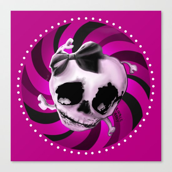 Girly Pink Skull with Black Bow Canvas Print