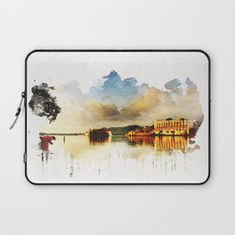Indian watercolor impression with lat and palace in Udaipur, Rajasthan Laptop Sleeve