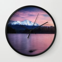Sublime a sunrise at Lake Siskiyou with Mt. Shasta Wall Clock