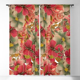 Elegant red coral green gold watercolor floral Blackout Curtain