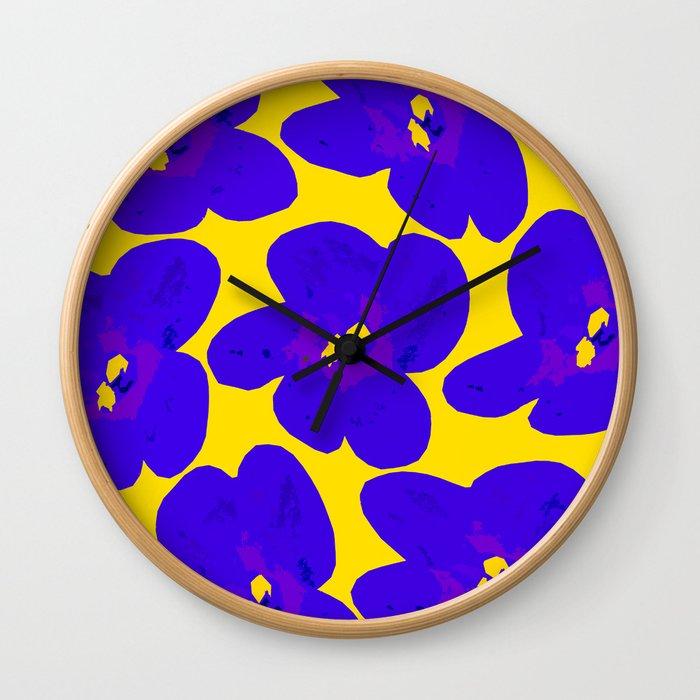 Blue Retro Flowers Yellow Background #society6 #decor #buyart Wall Clock