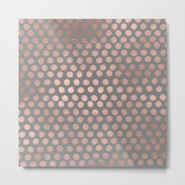 Handpainted Rosegold polkadots on grey background Metal Print