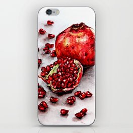 Red pomegranate watercolor art painting iPhone Skin