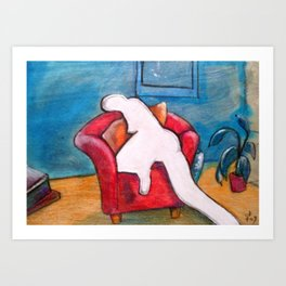 The red chair the absence of desire Art Print