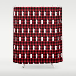 Camping Forest cabin chalet plaid red black and white minimal hipster gifts for festive christmas Shower Curtain
