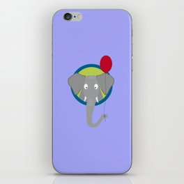 Elephant head with red balloon iPhone Skin