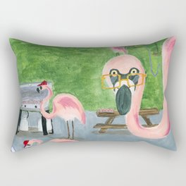 Yard Flamingo BBQ Rectangular Pillow