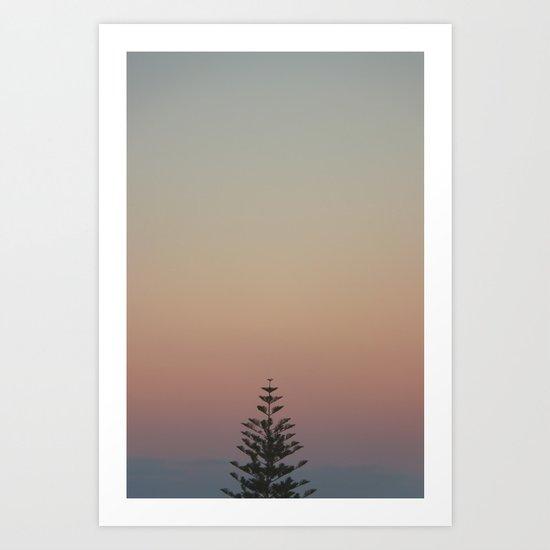 tree and sunset Art Print