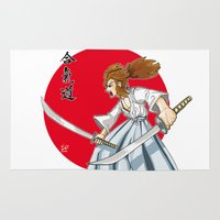 samurai Area & Throw Rugs featuring Samurai by Mauro Squiz Daviddi